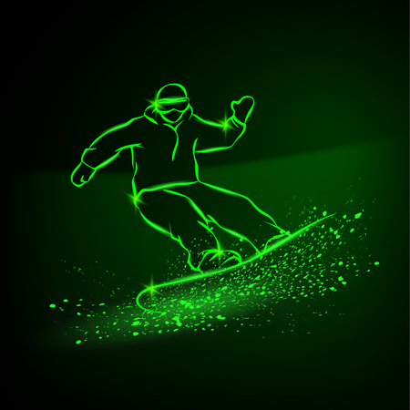 Snowboarder riding fast down the mountainside. Green neon winter sports background.
