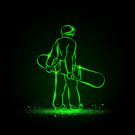 Snowboarder standing with the board, rear view. Green neon winter sports background.