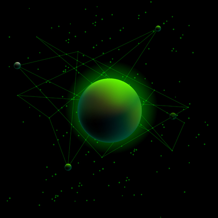 neon green: Planet and satellites. Neon Green space background.