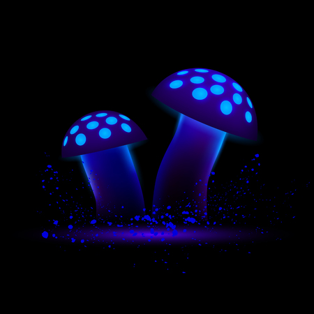 Blue neon mushrooms. Glowing magic agaric on a black background. Ilustração