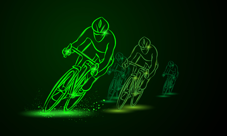 Cycling race. Front view. Bike competition. Group of cyclists go one after the other neon illustration. Illustration