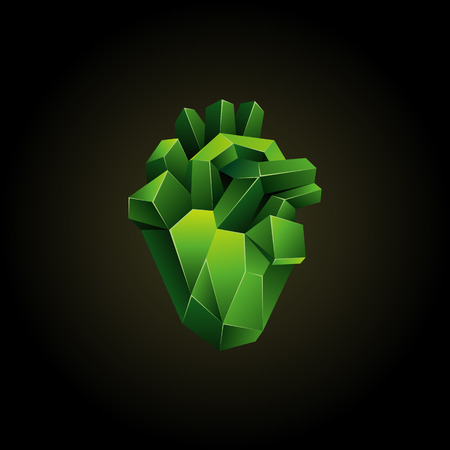 Green low poly human heart on a black background. Abstract anatomy blood organ. Healthy heart in 3D polygon style