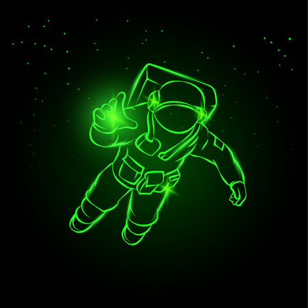 Astronaut flying in space and catches the light in his hand. Green neon vector illustration spaceman on the star background.