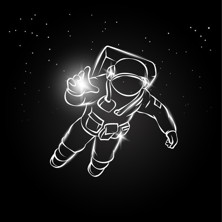 lost in space: Astronaut flying in space and catches the light in his hand. Vector illustration spaceman on the star background.