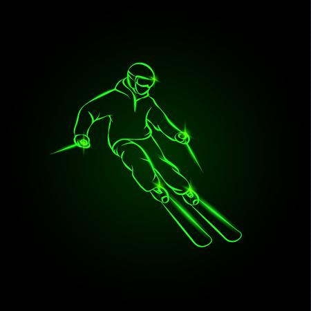 Skier on a mountain slope. Green neon ski sport illustration. Vettoriali
