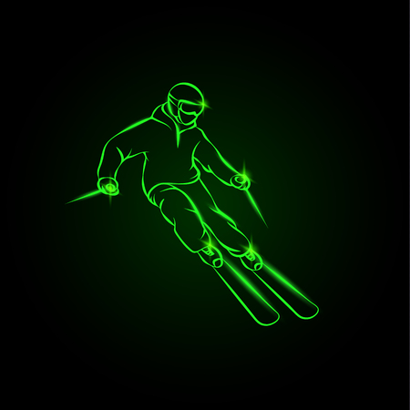 Skier on a mountain slope. Green neon ski sport illustration. Иллюстрация