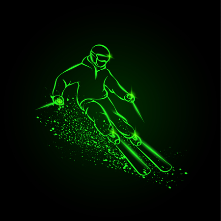 Skier on a mountain slope with snow spray. Green neon ski sport illustration on a black background.