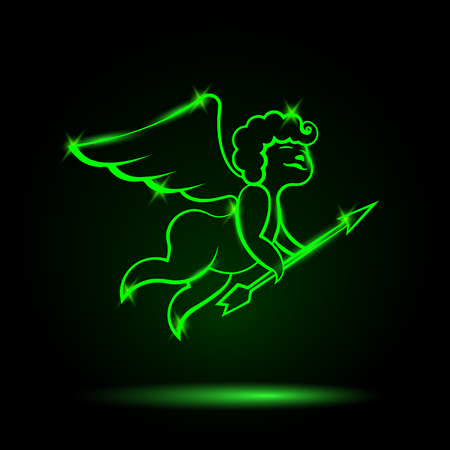 amor: Neon Cupid with an arrow. Vector Amor illustration for a card on Valentines Day.