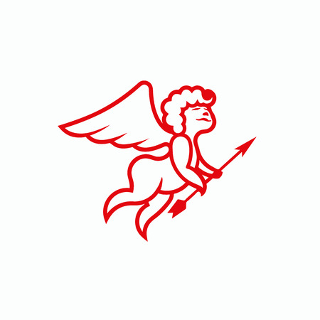 amor: Red Line Cupid with an arrow on a white background. Vector Amor illustration for a card on Valentines Day. Wedding decoration with an angel. Illustration
