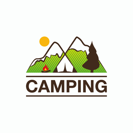 Camping and outdoor adventure logo. Color tourism emblem with a tent, campfire and mountain landscape. Illustration