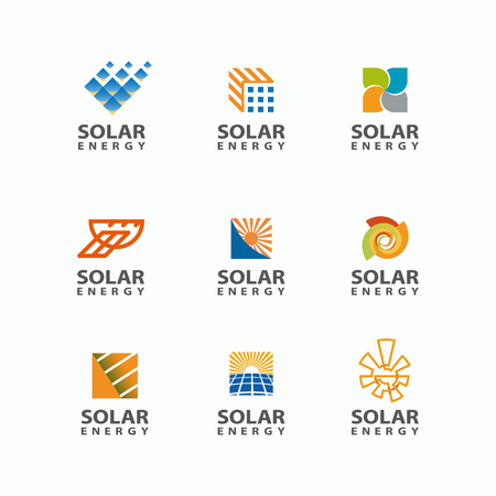 panels: Abstract set of solar energy logo. Sun logo for the brand. Eco energy emblem.