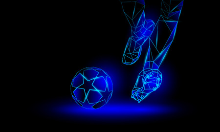 Soccer blue neon background. Polygonal Football Kickoff illustration. Legs and soccer ball. Illustration
