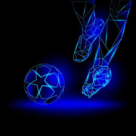 shootout: Polygonal Football Kickoff illustration. Soccer player hits the ball. Sports blue neon background.