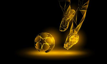 Piłka nożna żółty neon tło. Ilustracja poligonalny Football Kickoff. Nogi i piłka nożna.