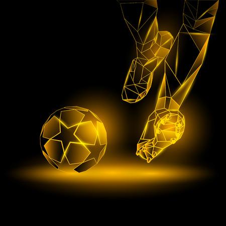 Polygonal Football Kickoff illustration. Soccer player hits the ball. Sports yellow neon background. Illustration