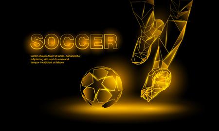 shootout: Soccer yellow neon banner. Polygonal Football Kickoff illustration. Legs and soccer ball.