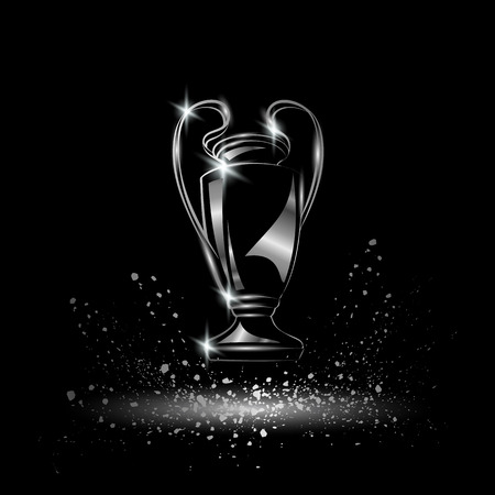 league: Champions Cup. Chromed Soccer trophy.