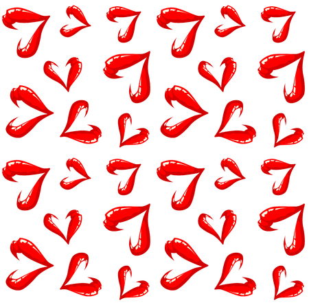 sexy tongue: Seamless open lips pattern on a white background. Illustration