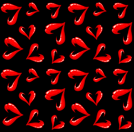 sexy tongue: Seamless open lips pattern on a black background.
