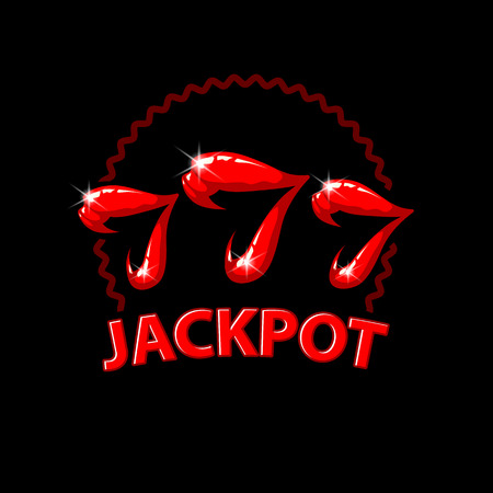 Triple seven jackpot illustration. Womens lips and 777 winnings in the casino. Slot machine illustration on a black background Illustration