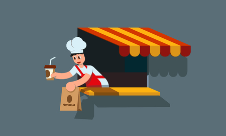Fast food worker serves the customer. Purchase a package with food and juice. Flat style illustration. Illustration