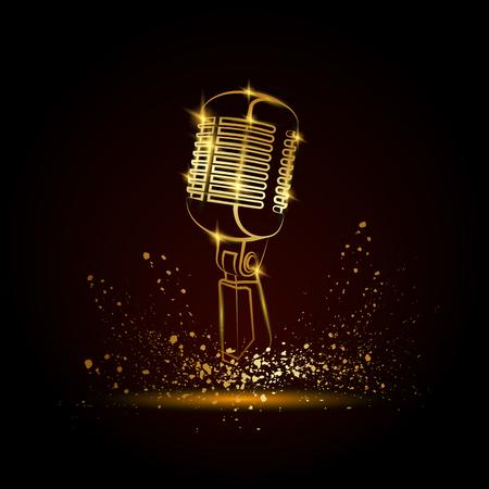 Goldene Mikrofonillustration auf einem schwarzen Hintergrund. Musikfestivalhintergrund für Flieger, Fahne, Anschlagtafel. Musikgruppe Deckblattvorlage.