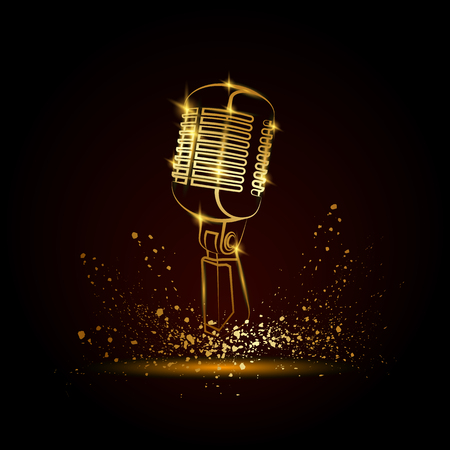 Golden microphone illustration on a black background. Music festival background for flyer, banner, billboard. Music group cover disk template. Vettoriali