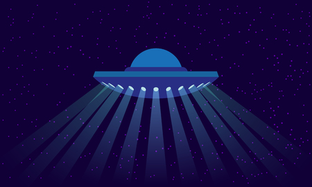 UFO with rays of light on outer space background. Alien spaceship illustration in a flat style. Illustration