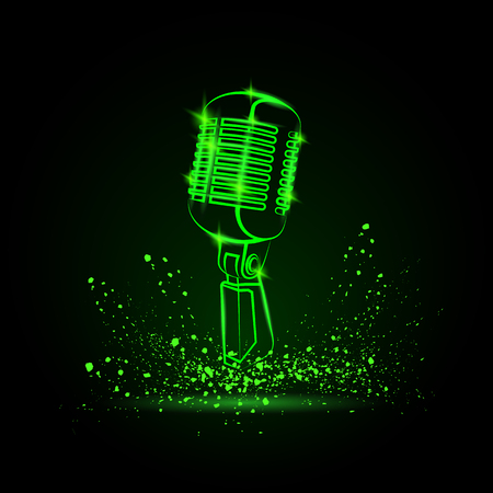 Green neon microphone illustration on a black background. Music festival background for flyer, banner, billboard. Music group cover disk template.