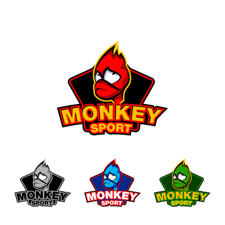 Monkey face sport logo template. Set of colored fire monkey logo. Illustration
