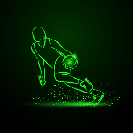 Basketball player dribbling with a ball at high speed. Vector green neon illustration. Illustration