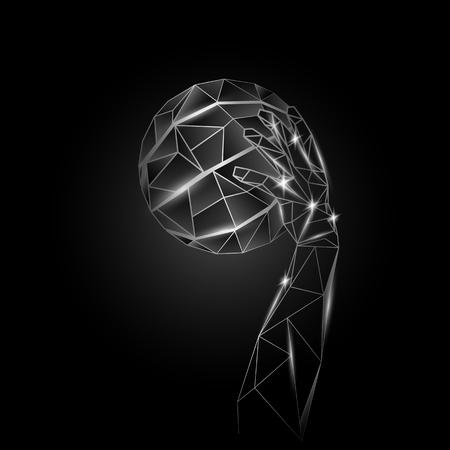 aluminium: Basketball ball and basketball player hand. Metallic polygonal sports illustration.