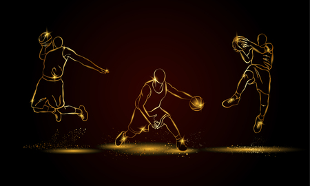 Basketball players set. Golden linear basketball player illustration for sport banner, background and flyer. 向量圖像