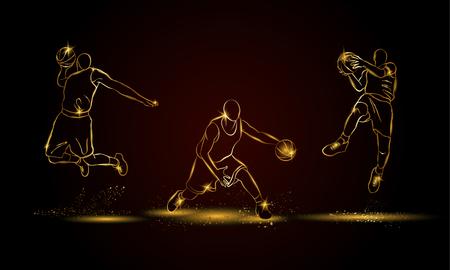 Basketball players set. Golden linear basketball player illustration for sport banner, background and flyer. Illustration
