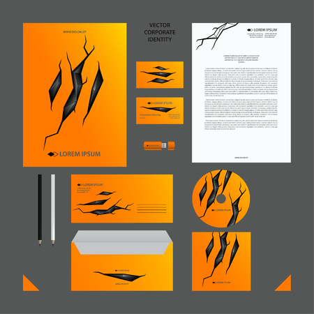 Yellow Corporate Identity set with black polygonal illustration in cracked background.