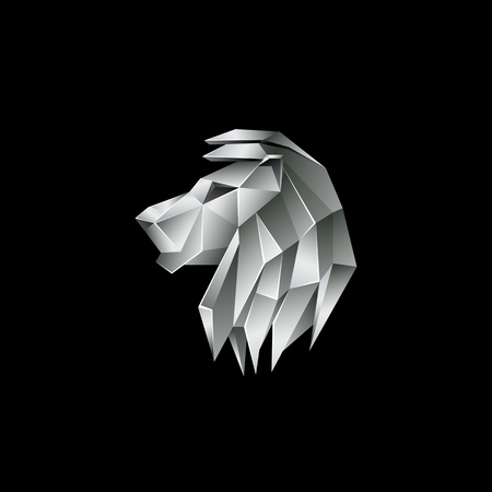 Silver metallic lion head. Polygon style lion logo on a black background.
