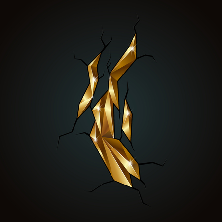 wallpaper copper gold golden: Golden abstract polygonal mineral from a crack on a black background. Illustration