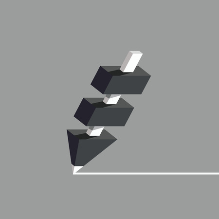 Black pencil with white core. Pencil structure with several segments, flat style vector illustration. Illustration