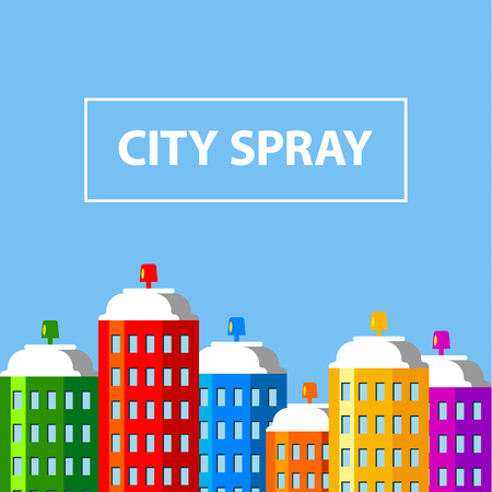 City buildings of spray paint banner. Aerosol cans like skyscrapers. Flat style vector illustration.