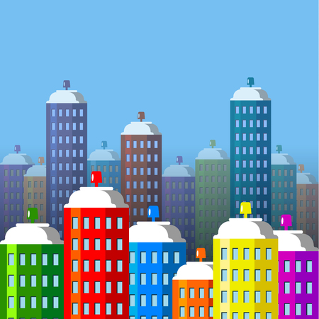 City buildings of spray paint. Aerosol cans like skyscrapers. Flat style vector illustration. Illustration