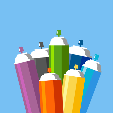 Cans of spray paint set. Flat style vector illustration.