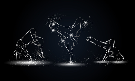 hip hop silhouette: Silver linear b-boys dancers set on black background. Hip hop dance background for poster and flyer.