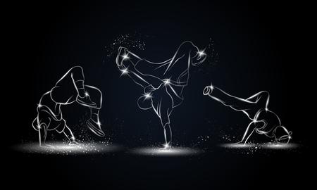Zilveren lineaire b-jongens dansers die op zwarte achtergrond worden geplaatst. Hip hop dans achtergrond voor poster en flyer. Stock Illustratie