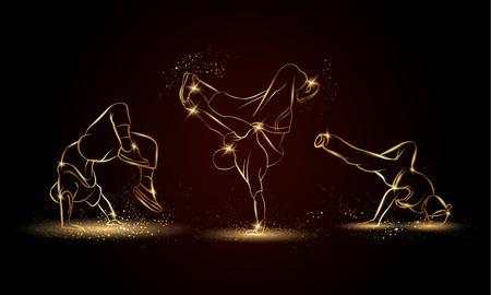 Golden linear b-boys dancers set on dark background. Hip hop dance background for poster and flyer. Vettoriali