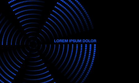 Blue Neon Rotating Propeller Banner. Twisted glowing dots on a black background. Residual trace of luminous dots. Çizim