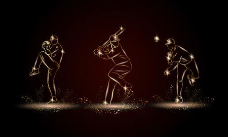 Baseball players set. Golden linear Baseball player illustration for sport banner, background and flyer.