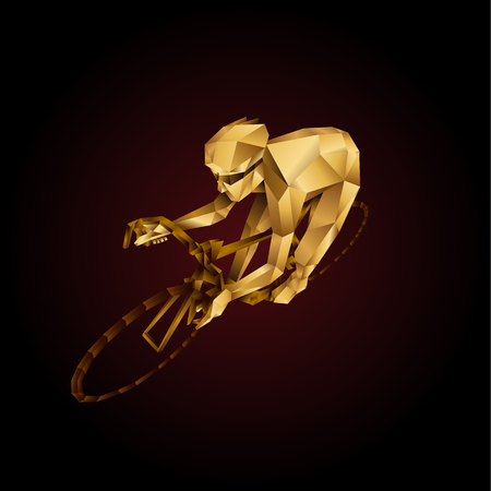 Abstract golden Polygonal cyclist. Cycle racing low poly sport vector background. Çizim