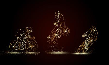 Fietser en fiets sport set. Gouden lineaire fiets race illustratie voor sport banner, achtergrond en flyer.