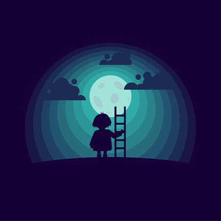 Niño con una escalera en el fondo de la luna. Ilustración conceptual de estilo plano. Ilustración de vector