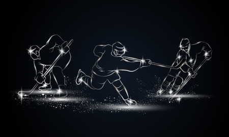 hockey goal: Hockey players set. Metallic linear hockey player illustration for sport banner, background and flyer.